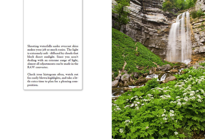 Sample page for Waterfall Photography eBook