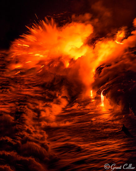 Lava enters the Pacific Ocean.